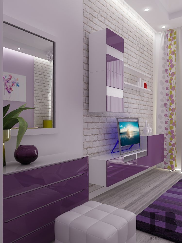 Bedroom in purple design