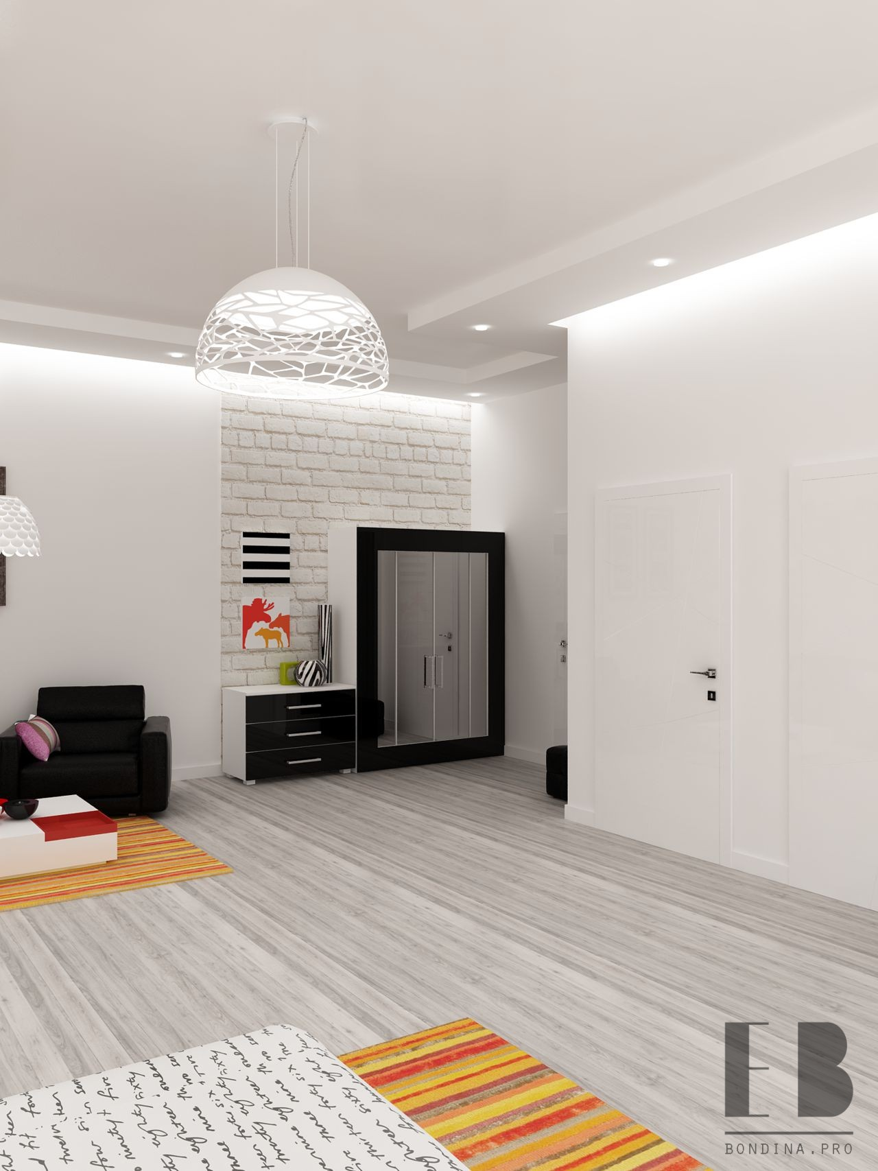 White Bedroom With Bright Pops of Color