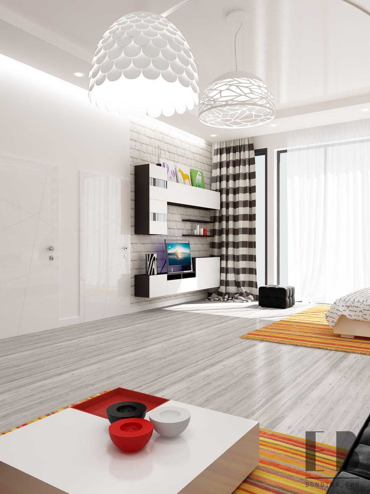 White and black bedroom interior design