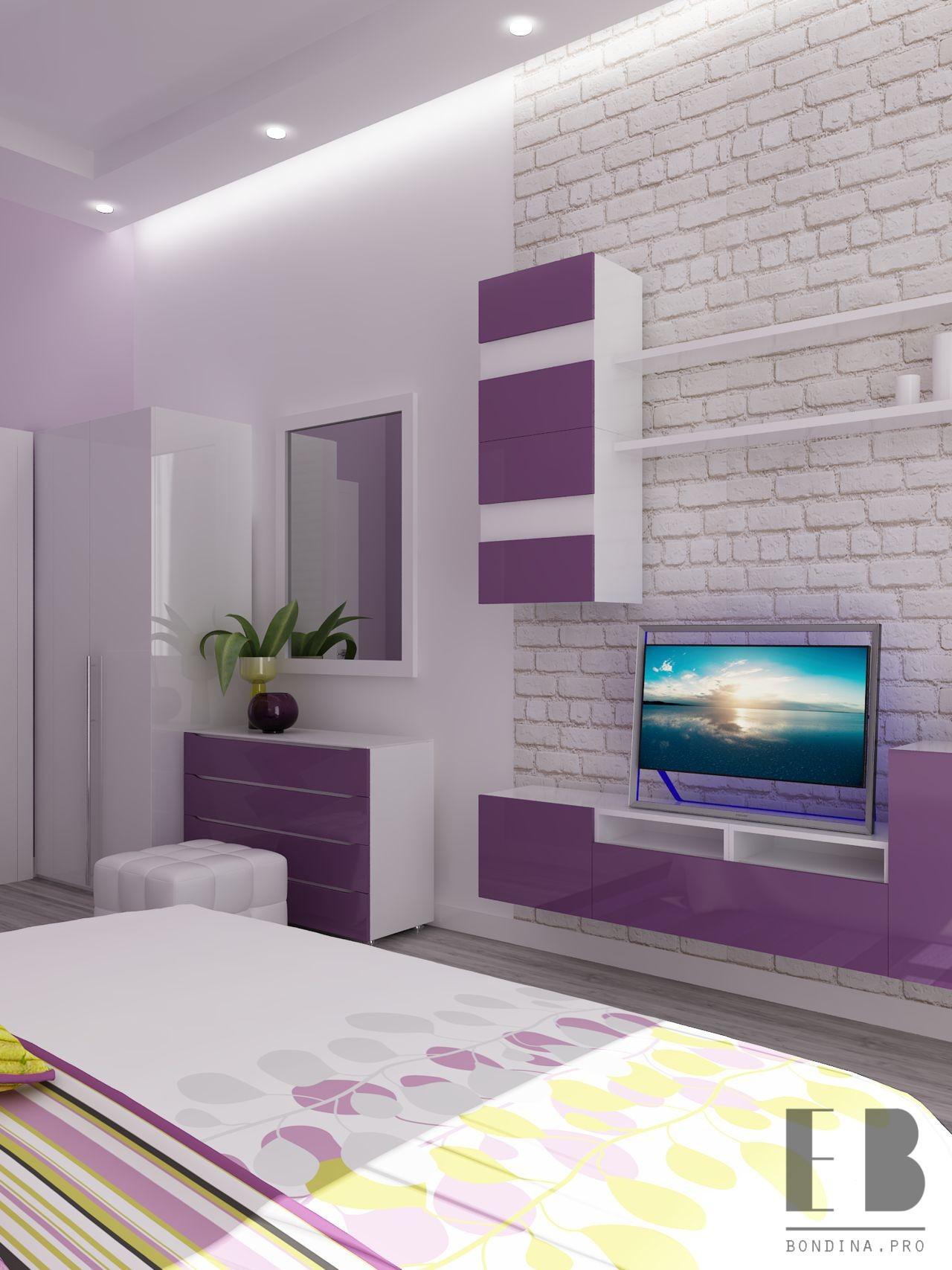 Лиловая спальня с теливизором интерьер