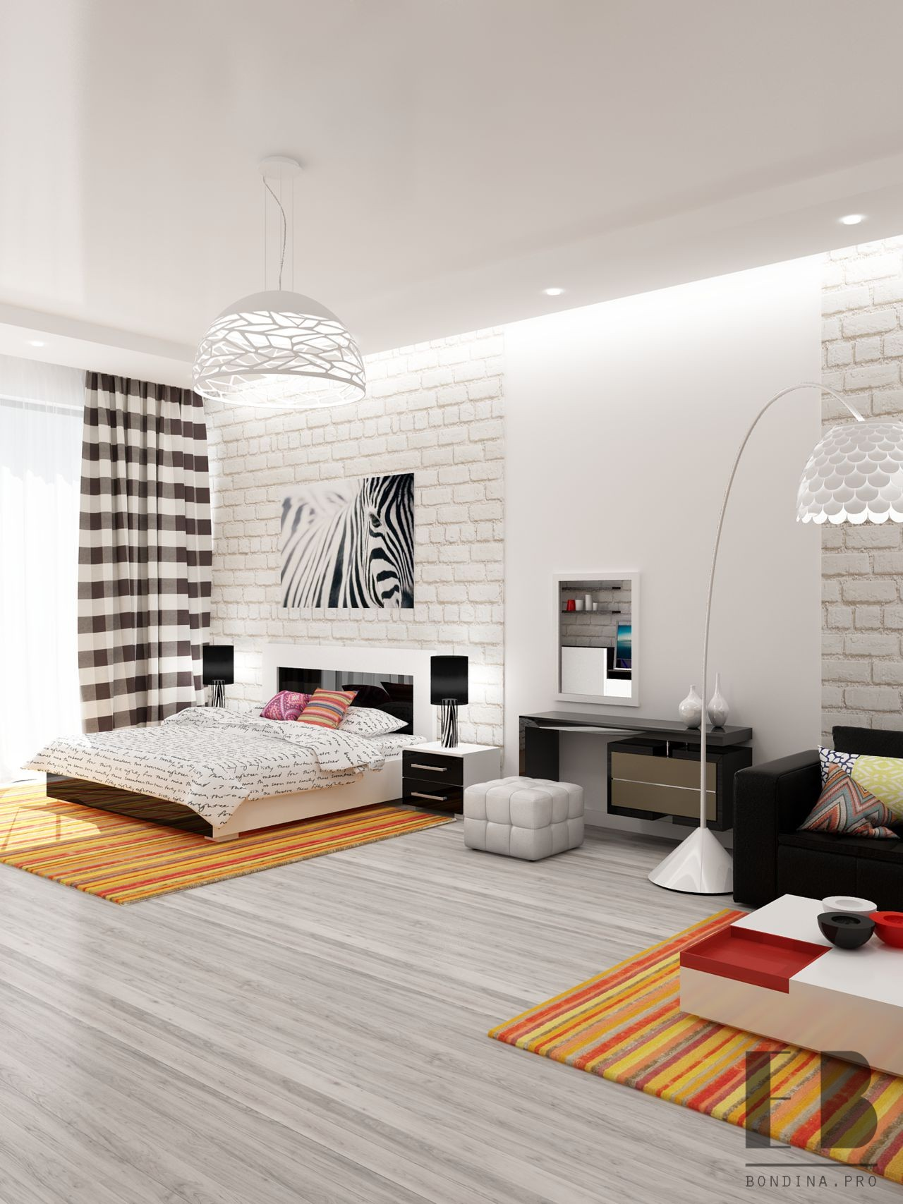 Living room and bedroom in one room design