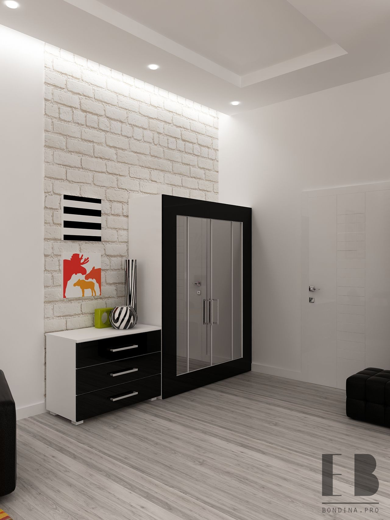 Design of a bedroom-living room