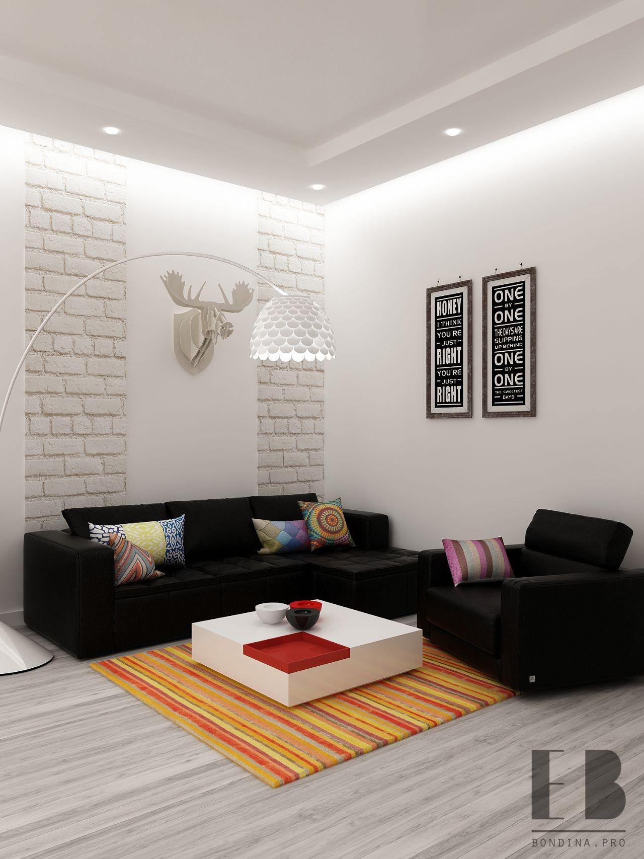 Белая гостиная с черным диваном дизайн