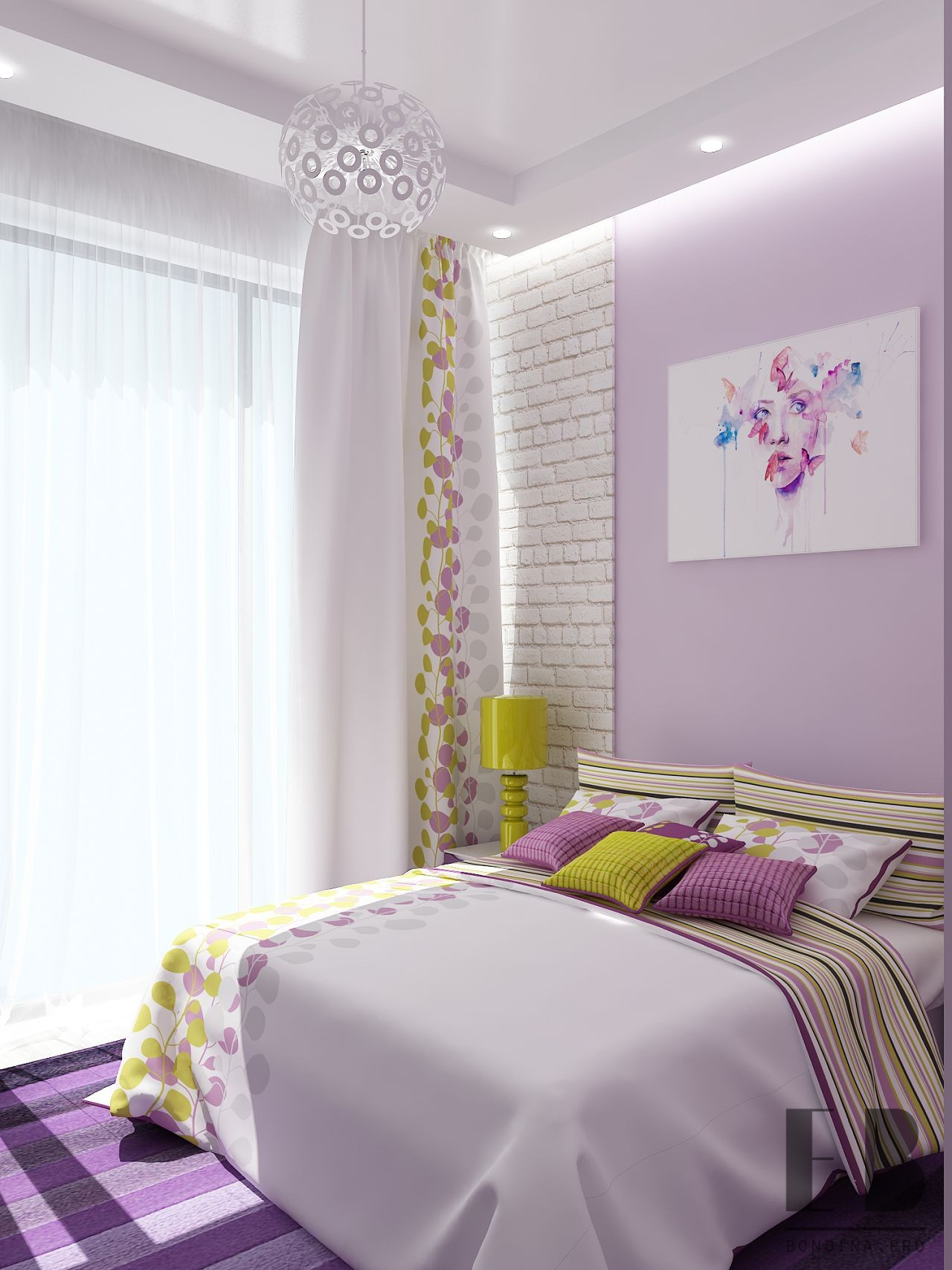 Bright bedroom interior design