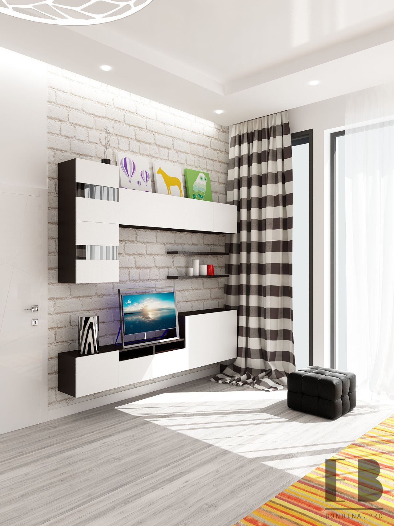 Wall for a drawing room interior design