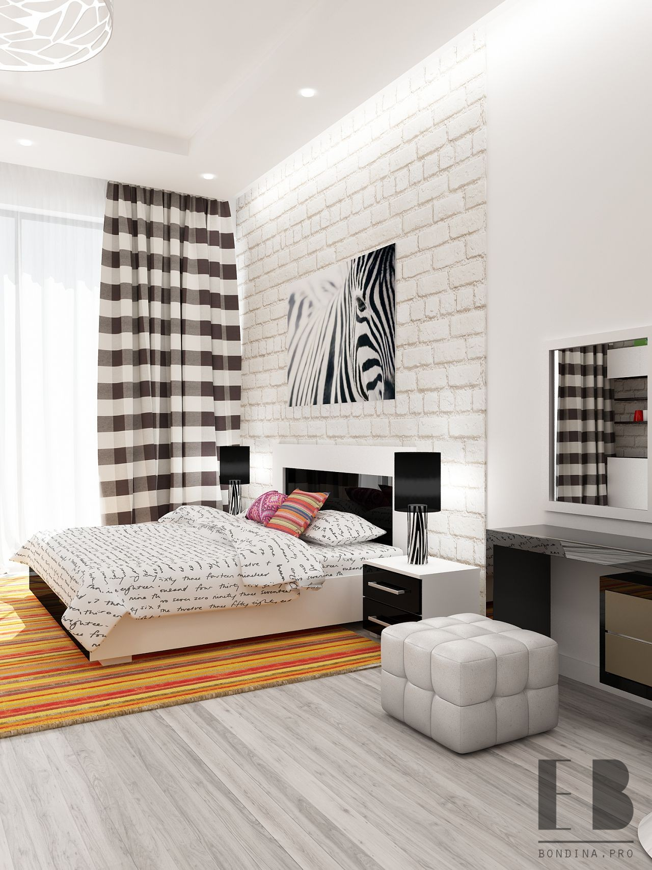 Bedroom with black and white furniture. interior