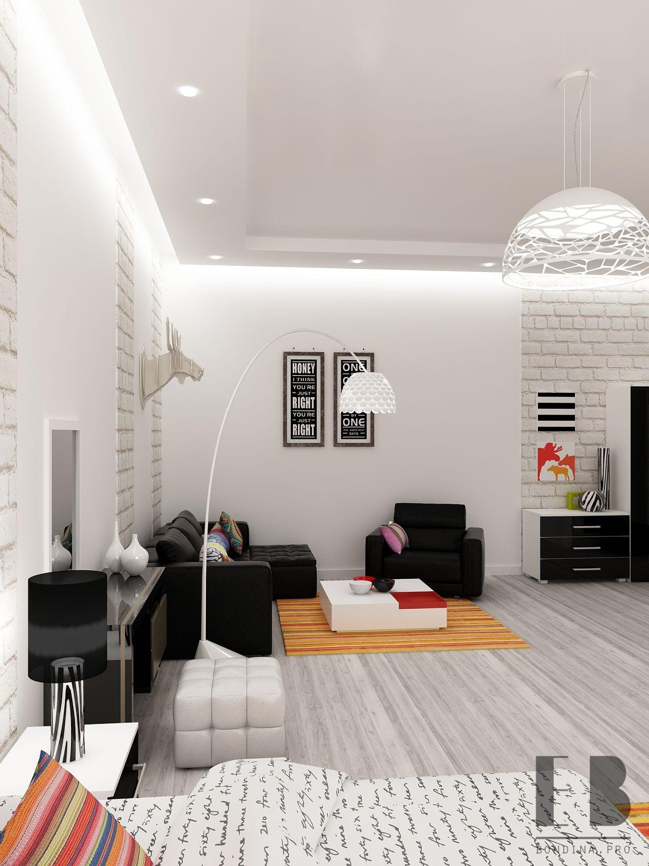 Interior design living room-bedroom