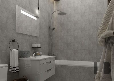 Warm beige bathroom interior with glass shower