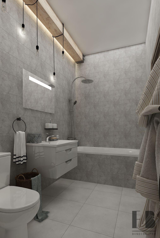 Warm beige bathroom interior with glass shower