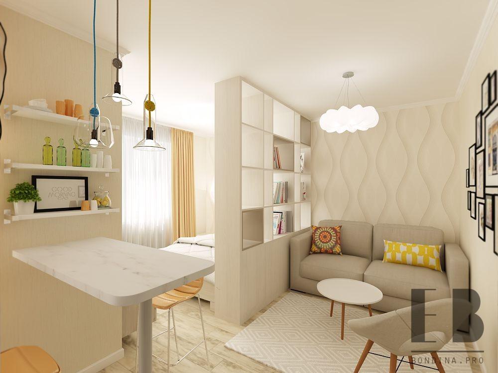 Однокомнатная квартира-студия дизайн интерьера