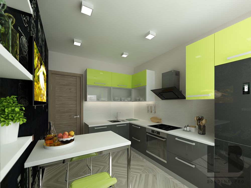 Refreshing green & gray kitchen design
