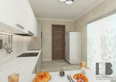 Delicate beige kitchen