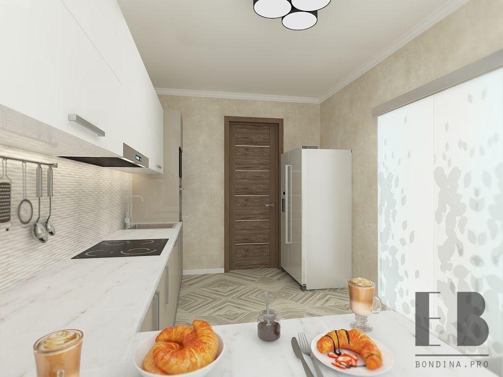 Delicate beige kitchen design