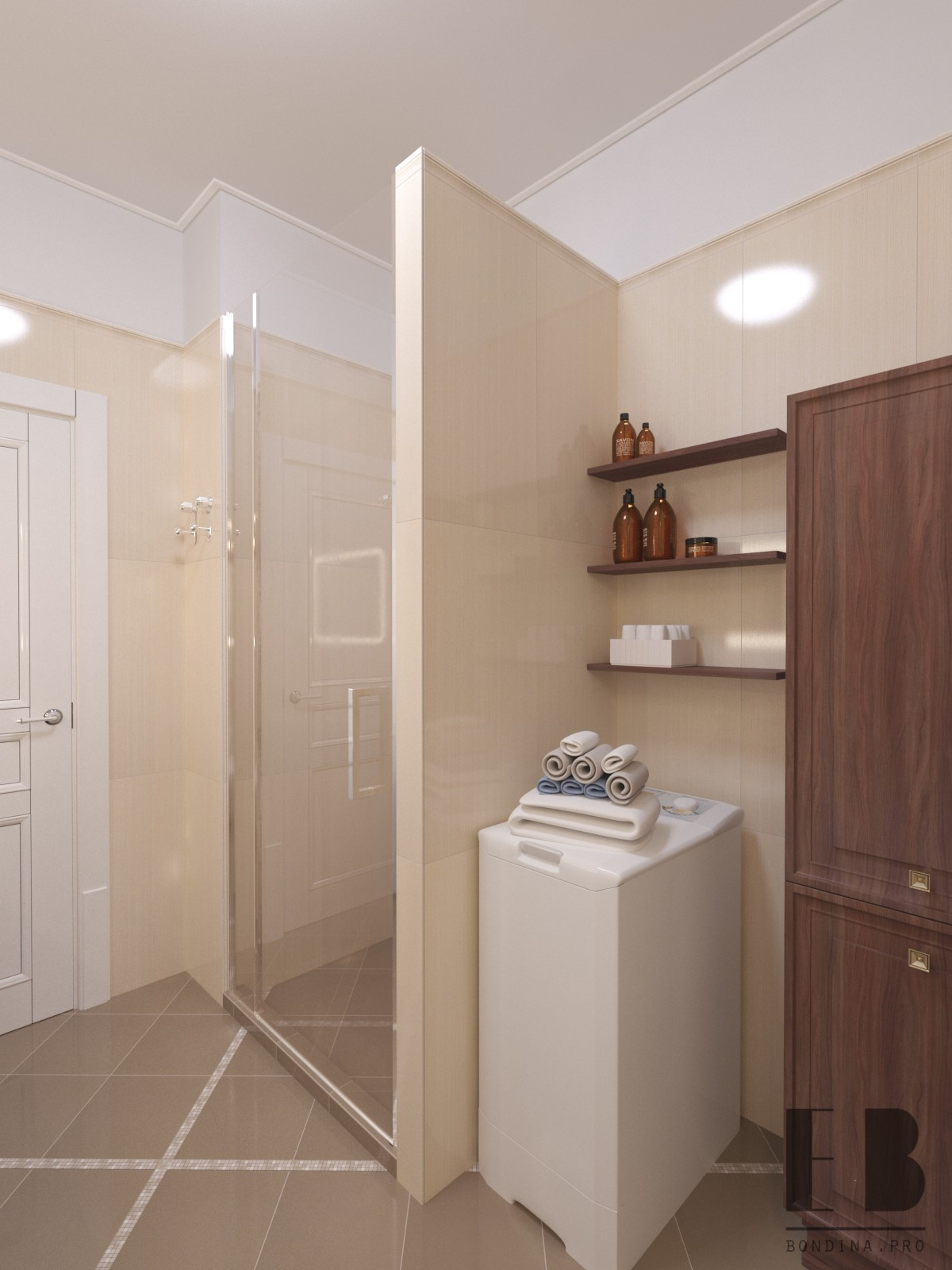 Design project of the bathroom in a classic style