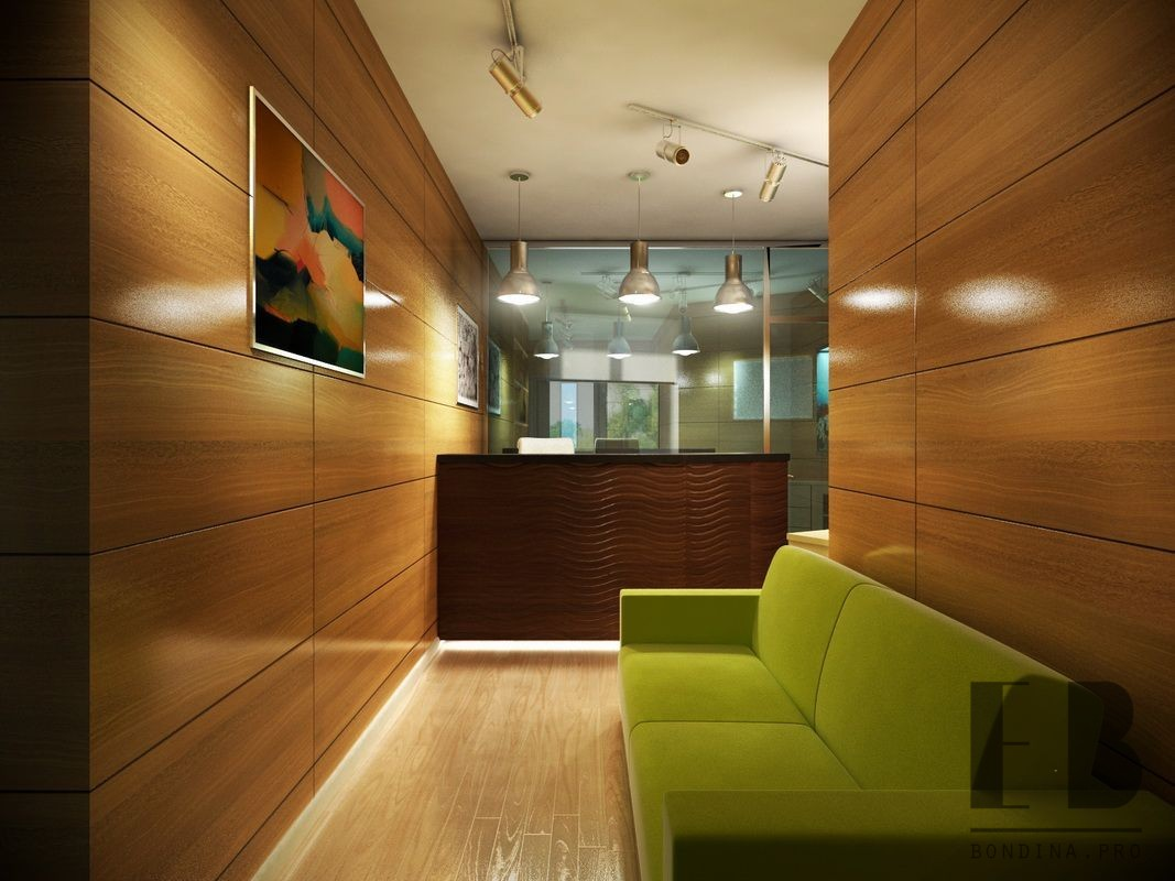 Wooden reception desk in a modern office with wooden walls