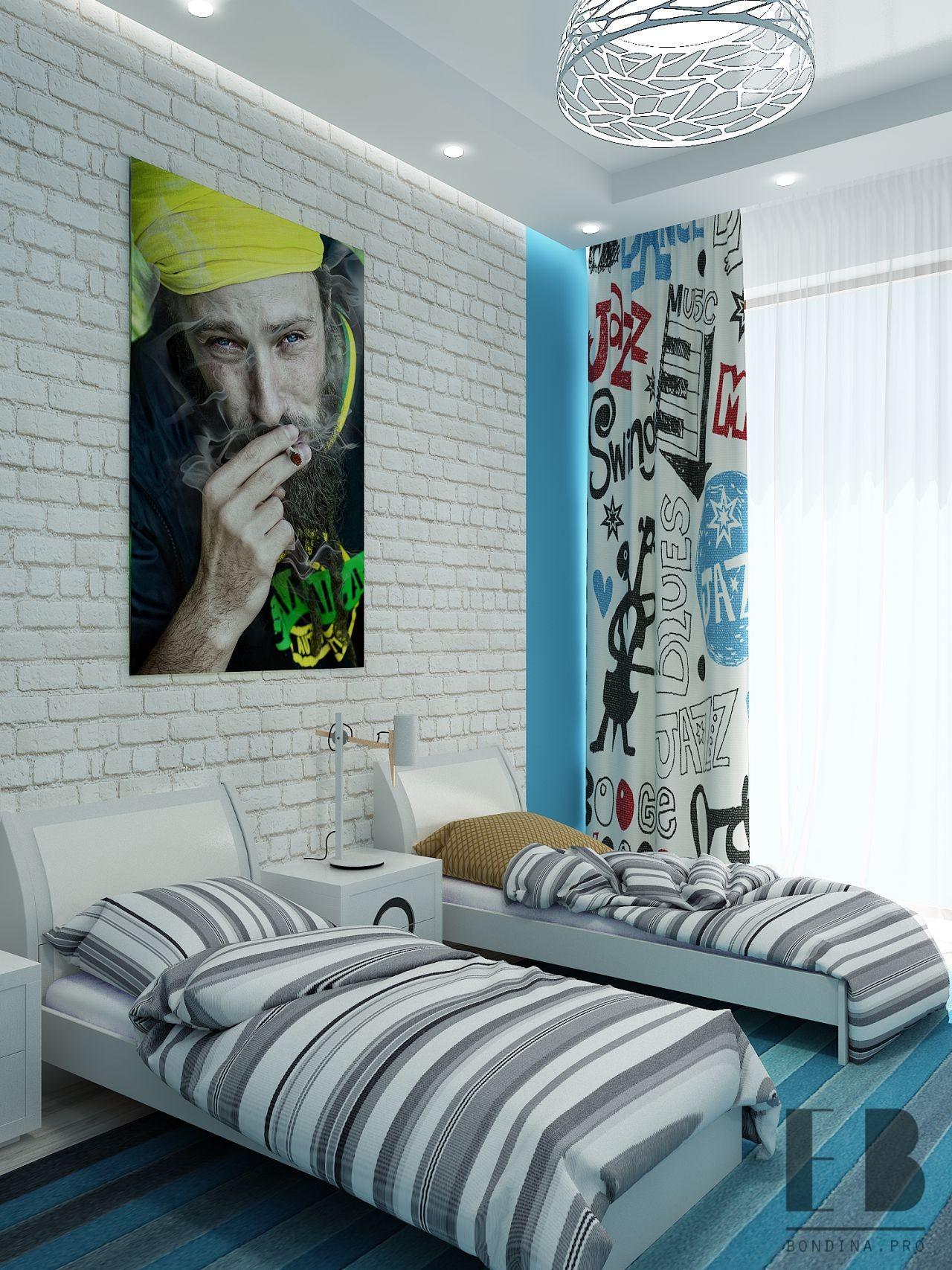 Современная спальня подростка дизайн