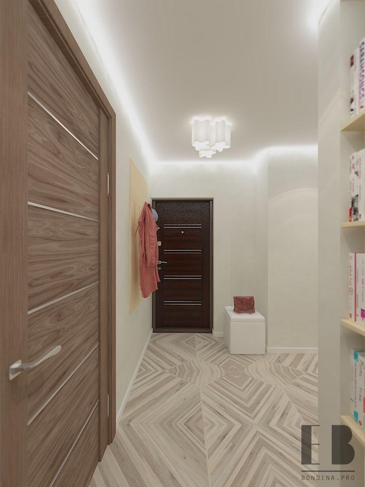 Long modern hallway with large wardrobe