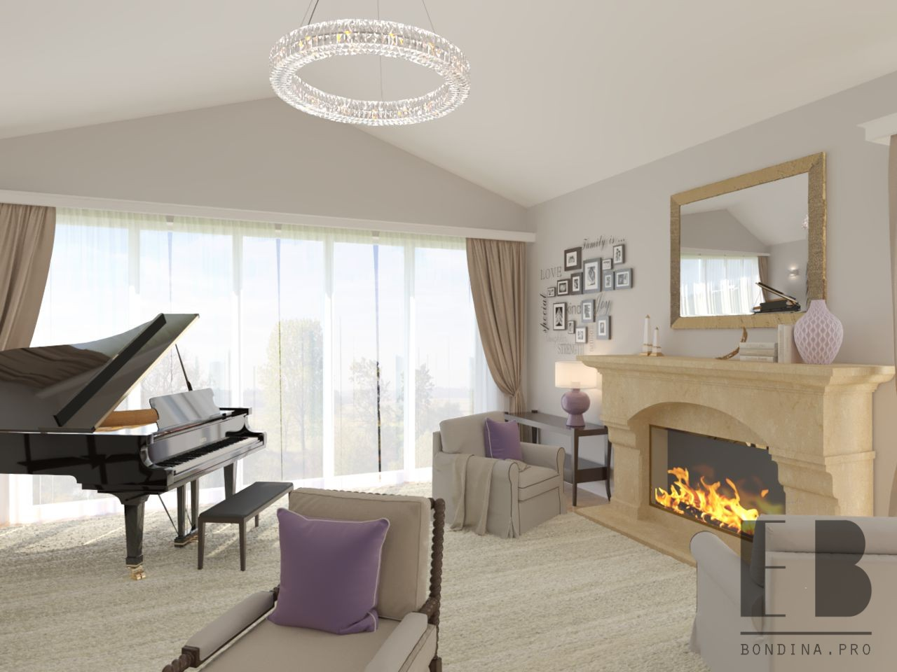 Классическая гостиная с камином дизайн