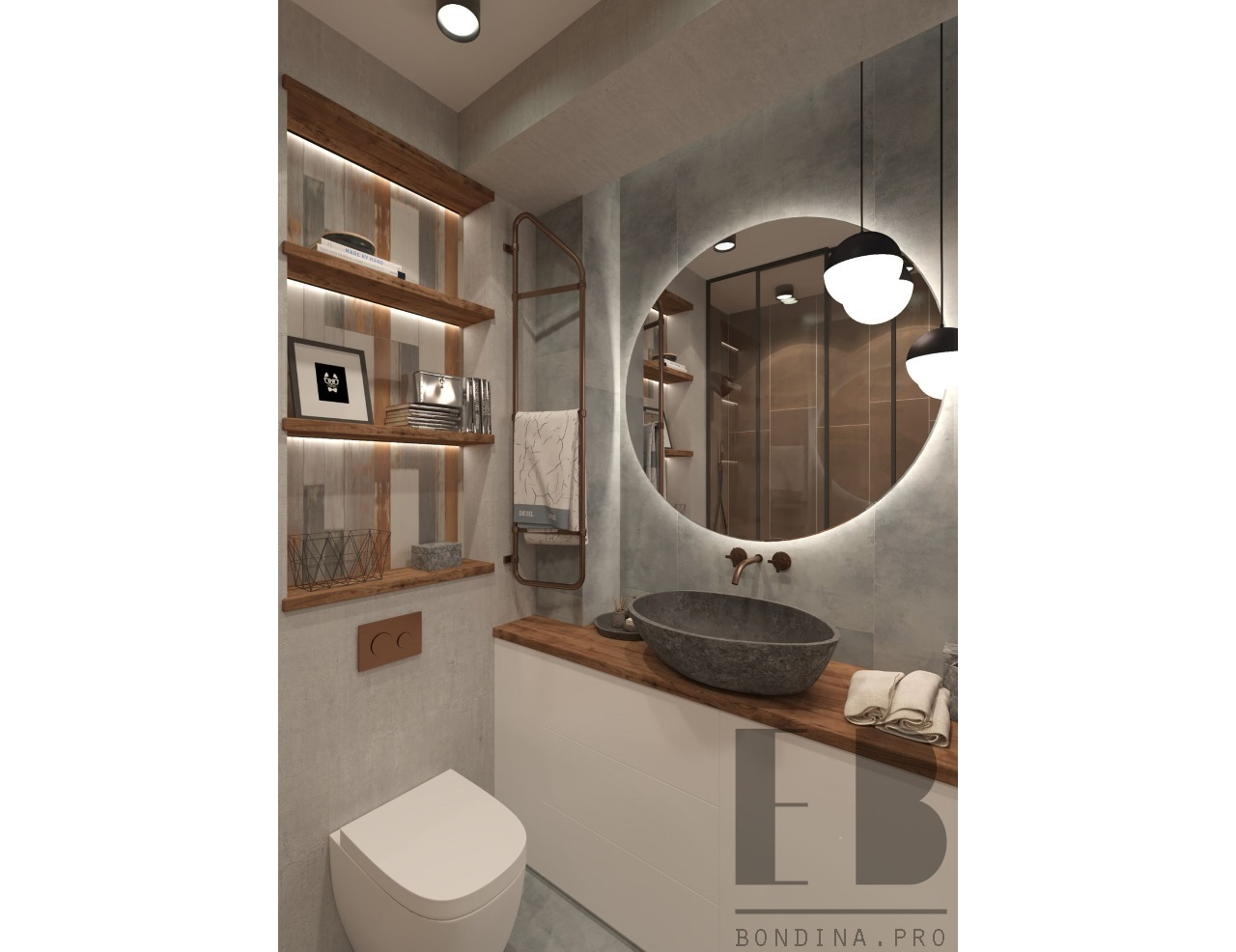 Loft style bathroom design