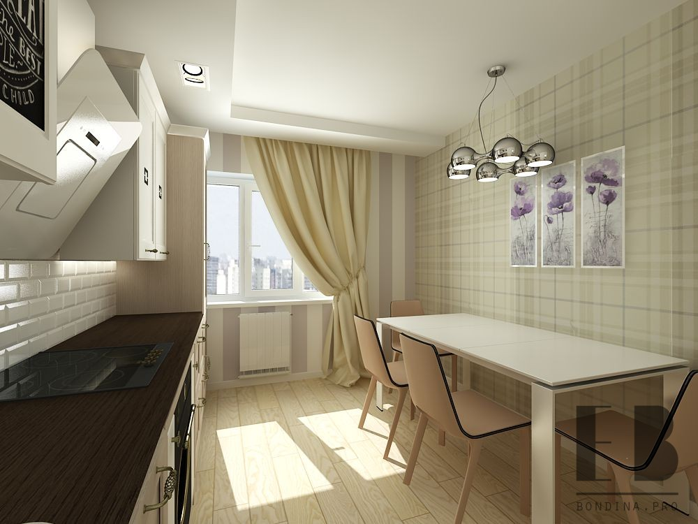 Kitchen design with a large table