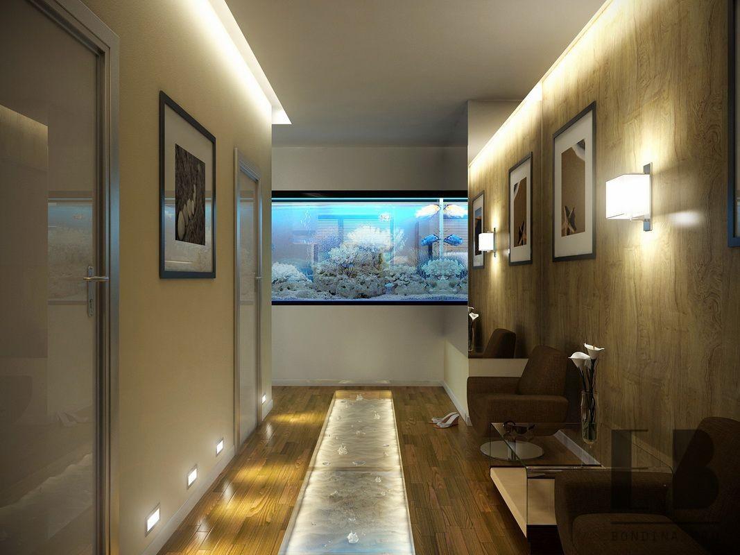 Corridor design with aquarium