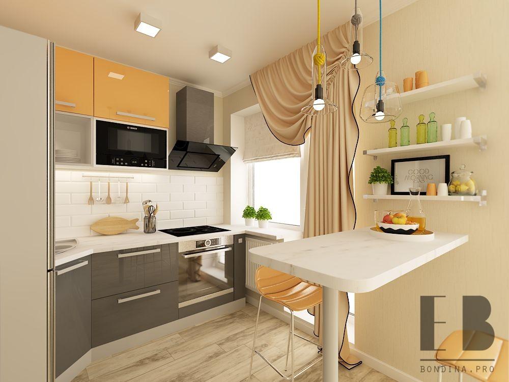 Светлая кухня в оранжевых тонах дизайн