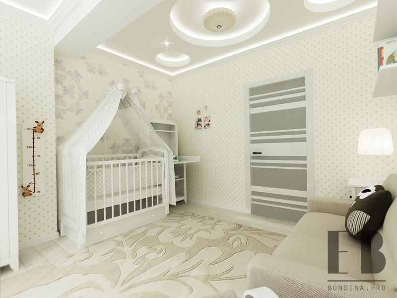 Bright nursery for the baby interior design