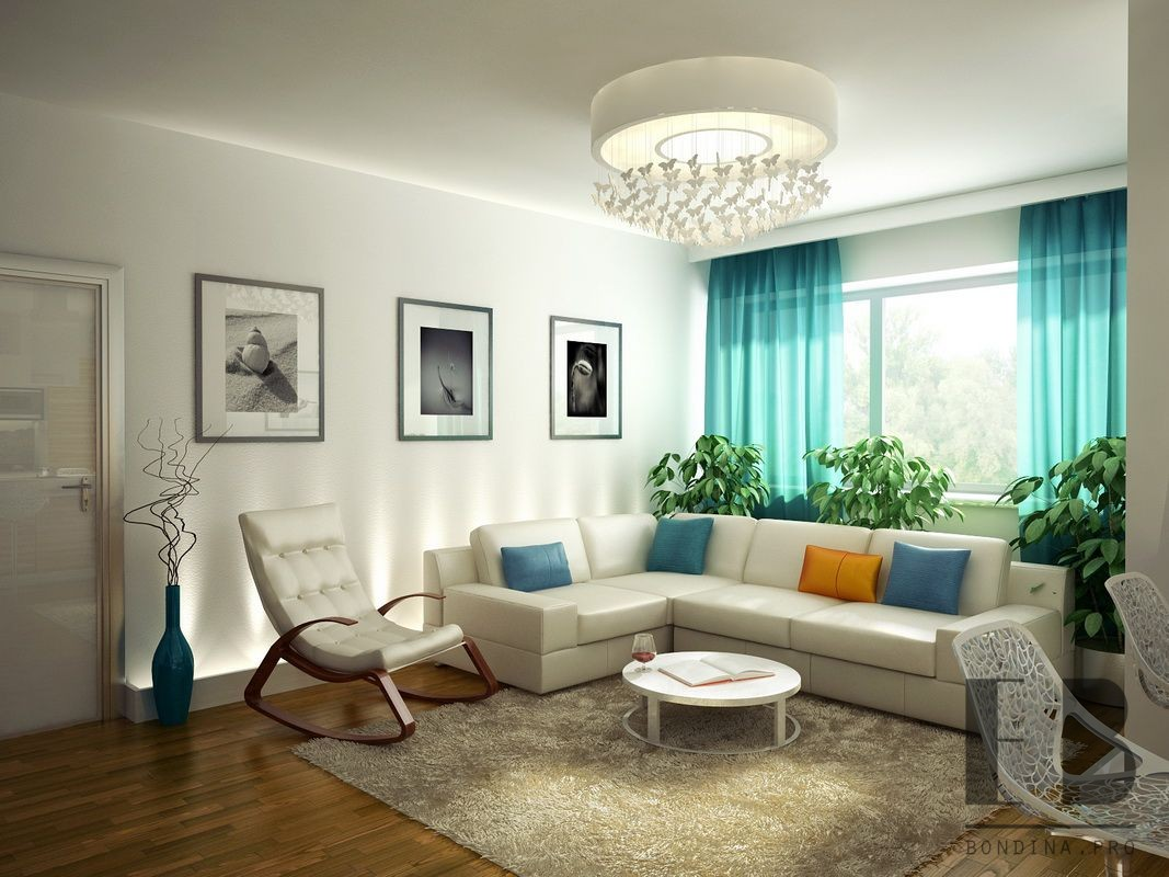Living room interior in bright colors.
