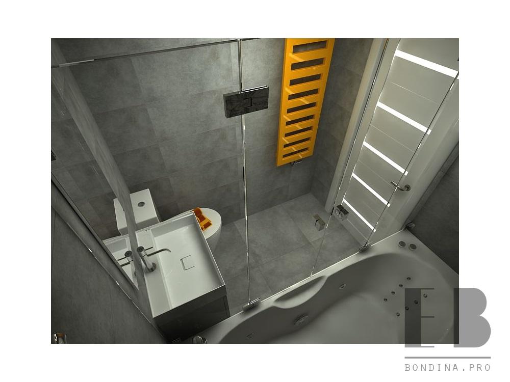 Gray bathroom with a bright accent design
