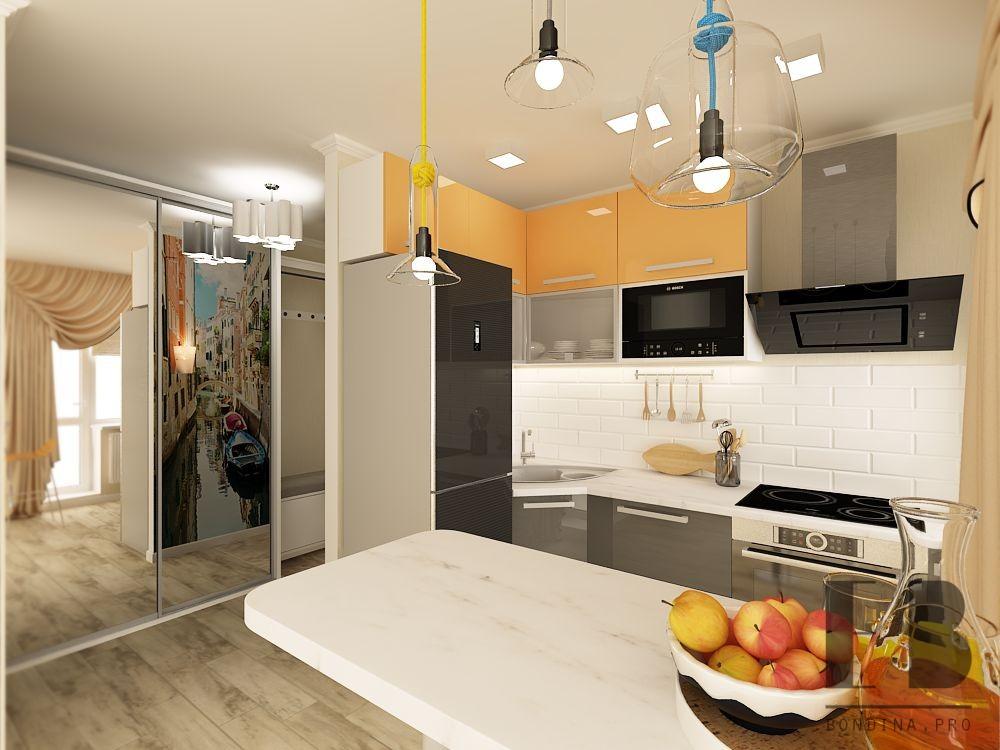 Кухня с барной стойкой дизайн интерьера