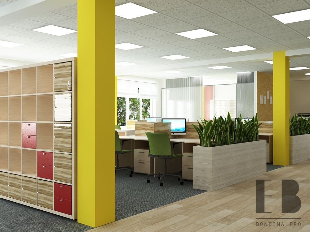 Office design with large windows.