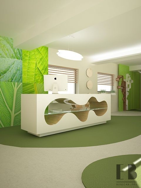 Unusual Office Reception interior design in green and white colors