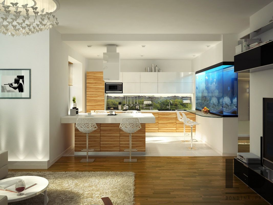 Kitchen and living room combo with a breakfast bar