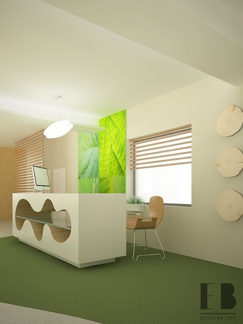 Eco-friendly office reception in green and white