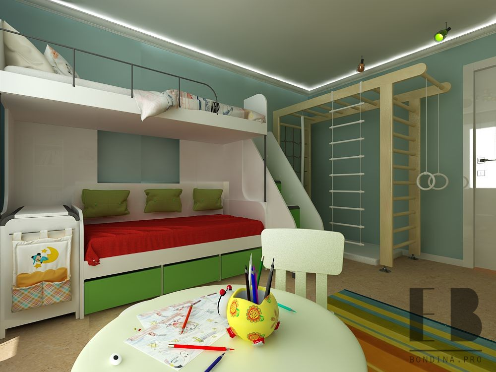 Bed for two children interior design