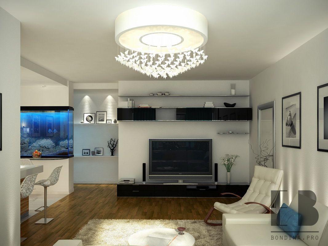 Kitchen interior design with a large aquarium