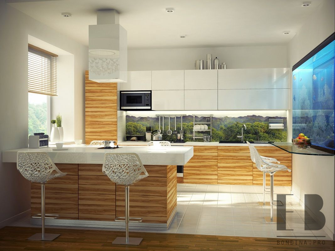 Contemporary White Kitchen Design with Aquarium and lace chairs