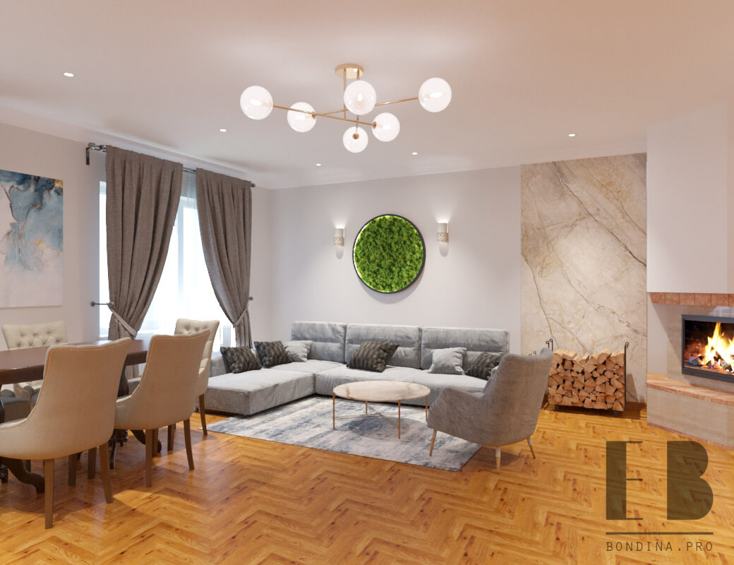 Beautiful living room design with fireplace