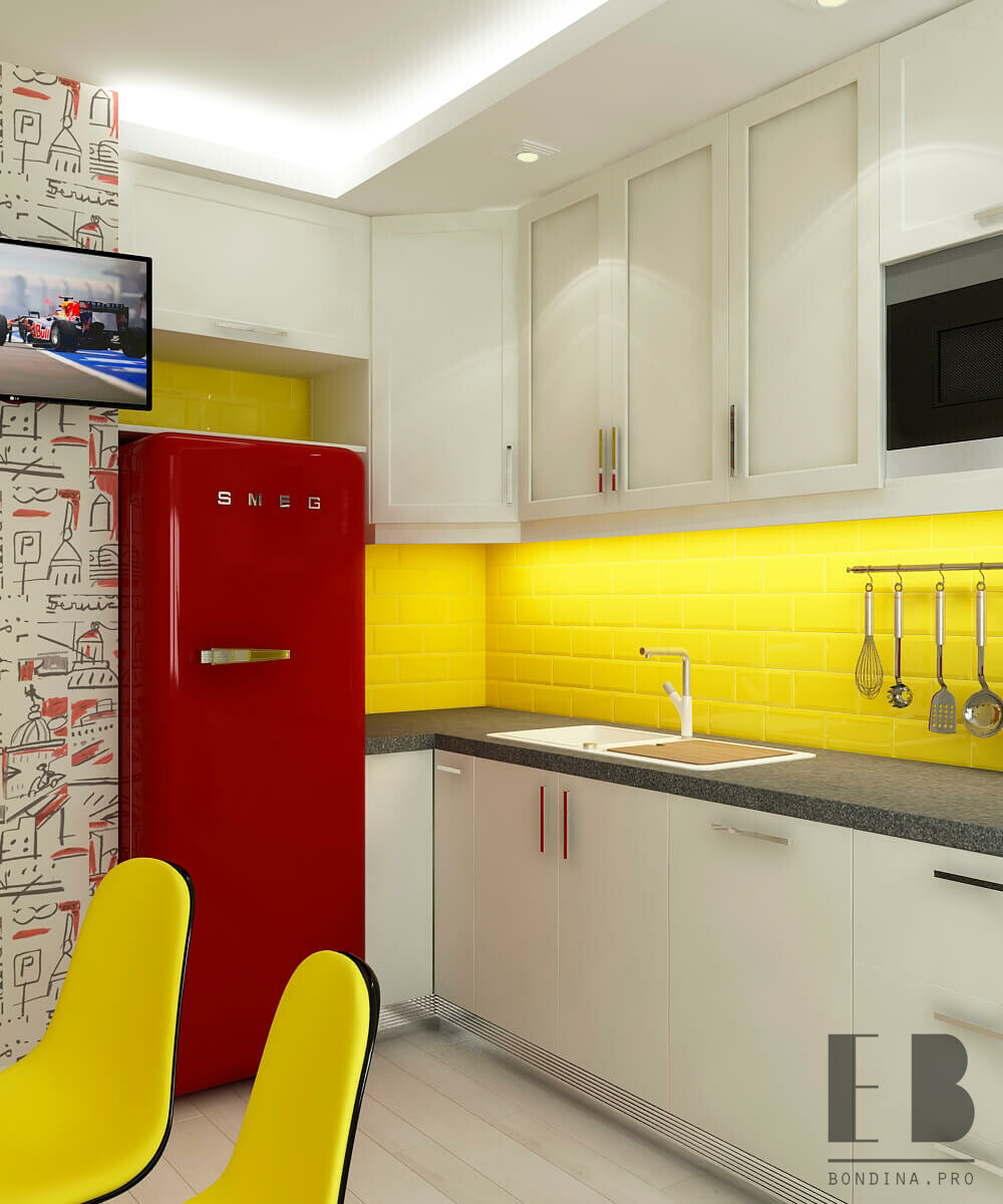 Grey kitchen with glass backsplash