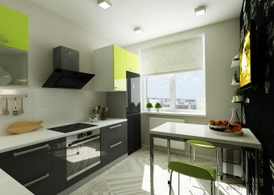 Refreshing green & gray kitchen