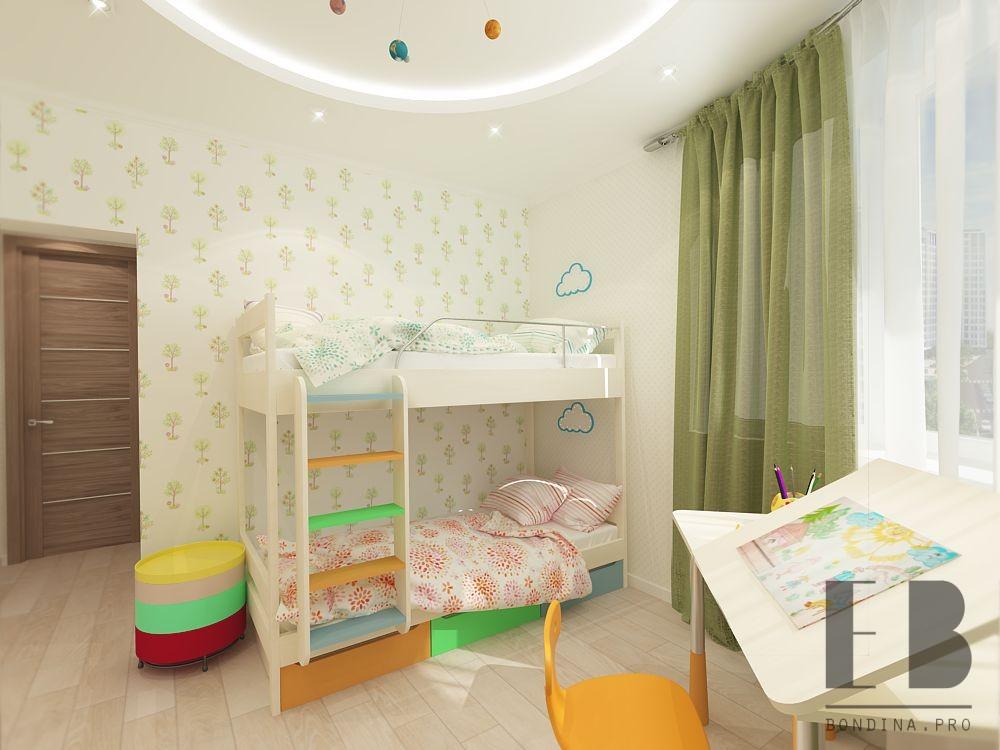 Children's room interior with bunk bed