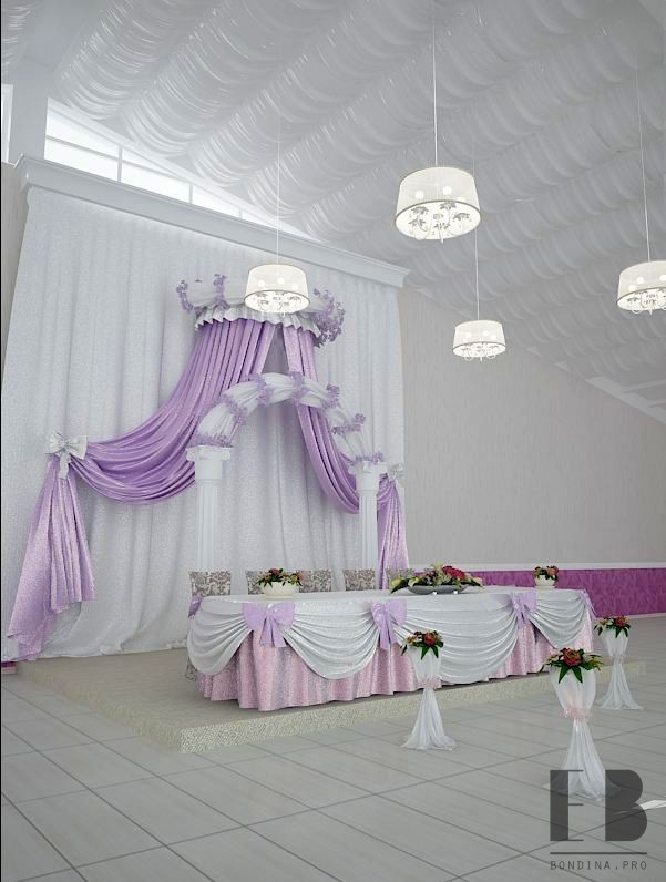 Banquet hall interior in purple