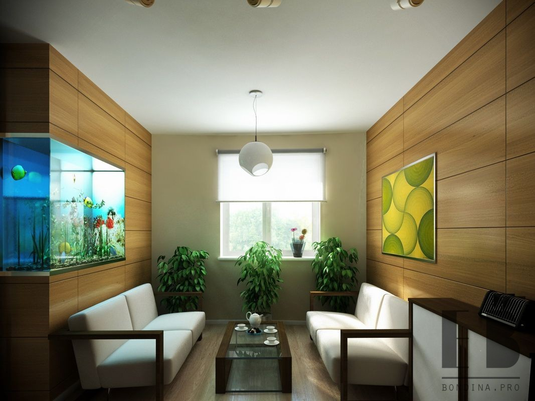 Waiting room in a modern office with wooden walls and a big aquarium