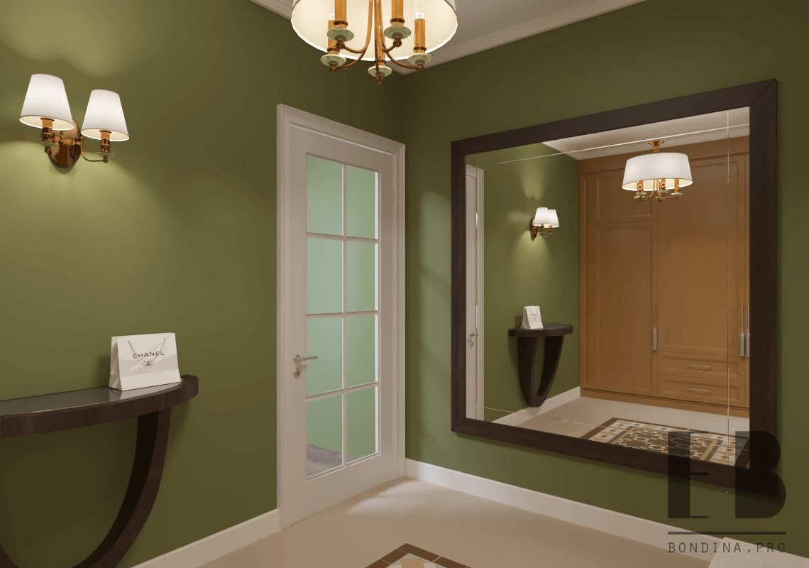 Hallway with a large mirror design