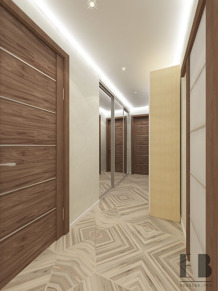 Large closet in the hallway interior design
