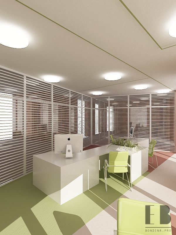 Office design in light green color and wood