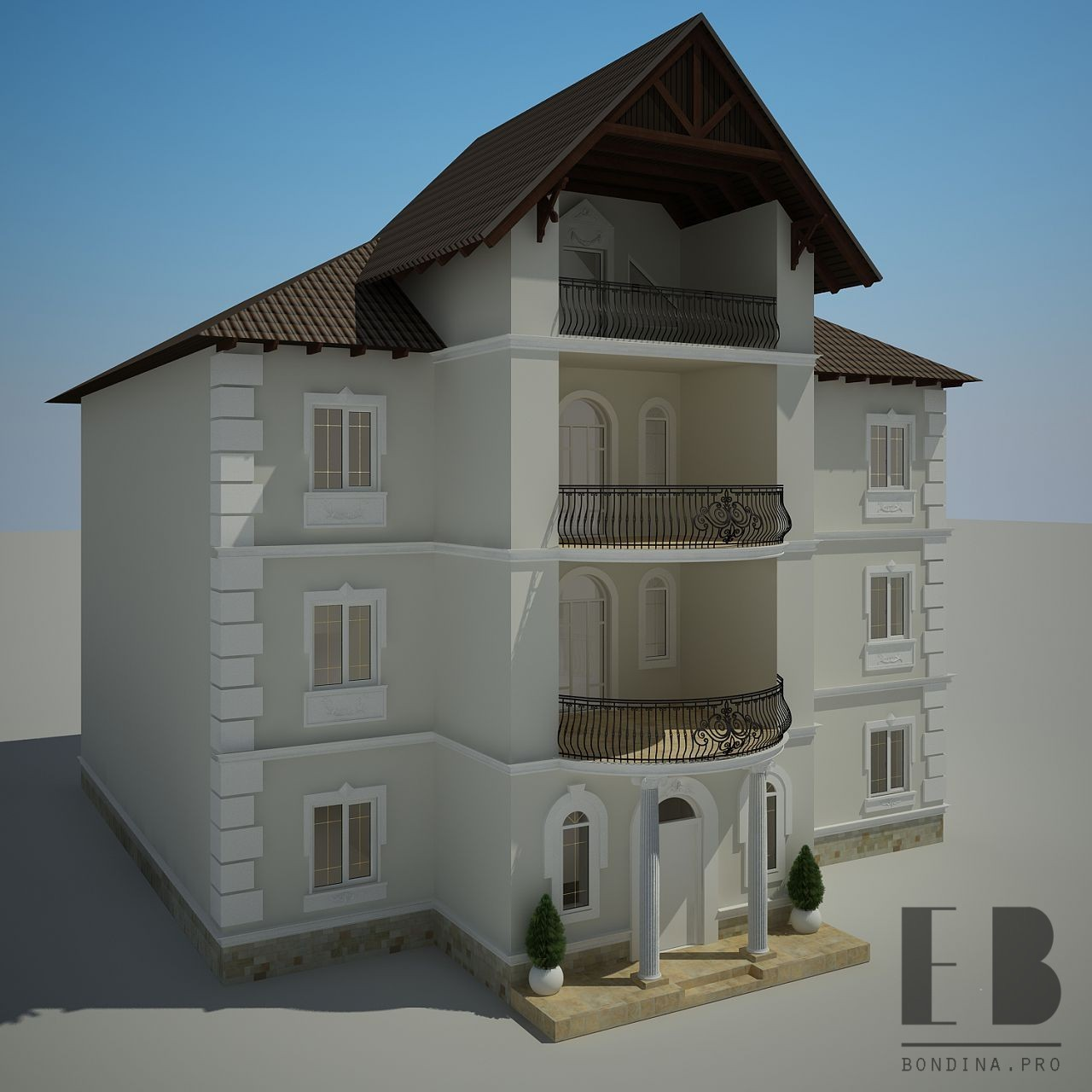Reconstruction of the facade of a three-story house