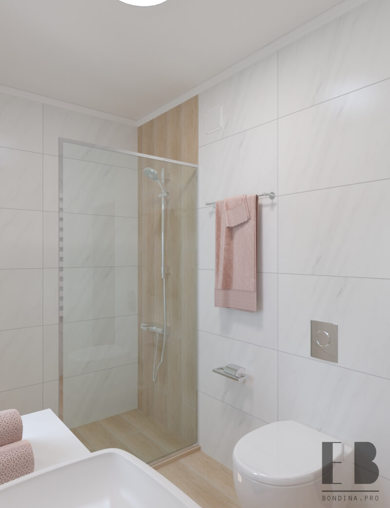 Bathroom in a scandinavian style with glass shower
