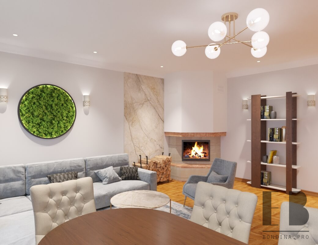 Modern living room design with fireplace and a moss wall art