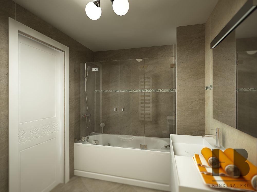 Ванная комната с плиткой под камень дизайн